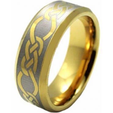 COI Gold Tone Titanium Celtic Beveled Edges Ring - JT3478AA