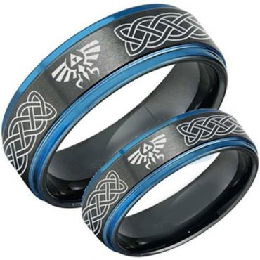 COI Titanium Black Blue Legend of Zelda Celtic Step Edges Ring-3482