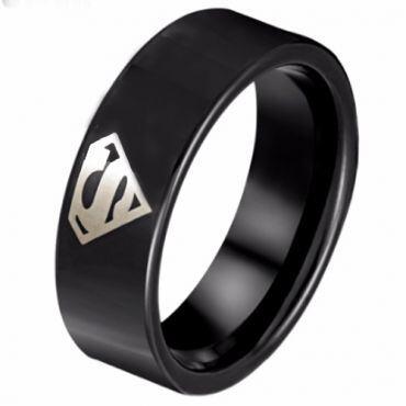 *COI Black Titanium Superman Pipe Cut Flat Ring - JT3526AA
