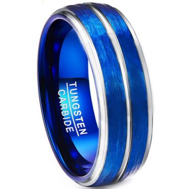 COI Tungsten Carbide Blue Silver Sandblasted Ring-TG3567