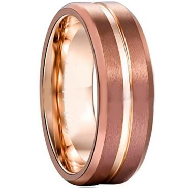 COI Tungsten Carbide Rose Silver Center Groove Ring - 356