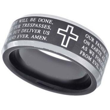 *COI Titanium Black Silver Cross Scripture Ring-3080