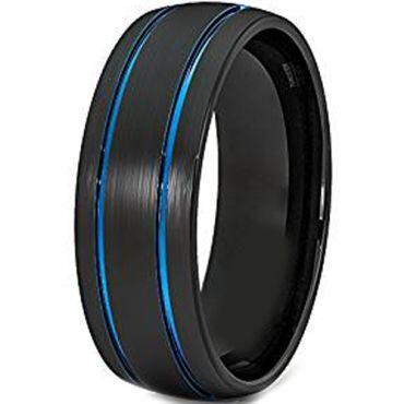 *COI Titanium Black Blue Double Grooves Dome Court Ring-JT3587
