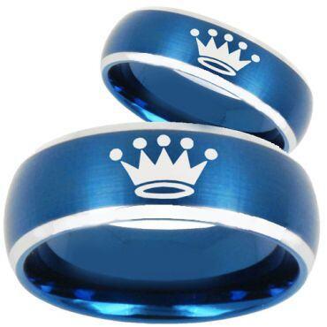 *COI Tungsten Carbide Blue Silver King Crown Ring - TG3590BB