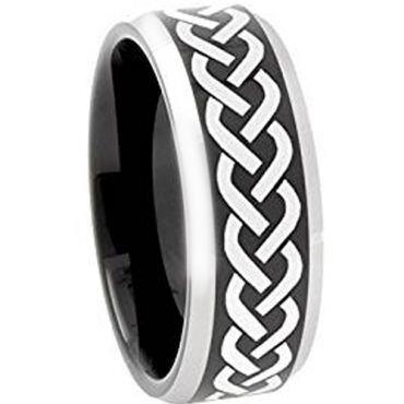 **COI Titanium Black Silver Celtic Beveled Edges Ring - JT3600