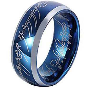 **COI Titanium Blue Silver Lord of the Ring Beveled Edge Ring-3615