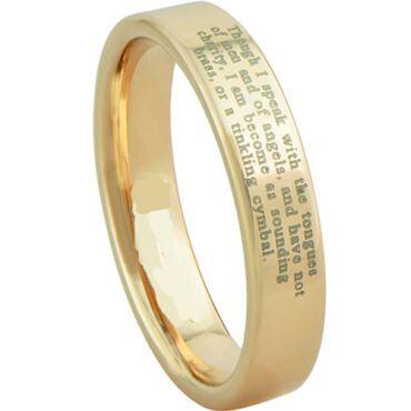 COI Gold Tone Tungsten Carbide Custom Engraving Ring-3620