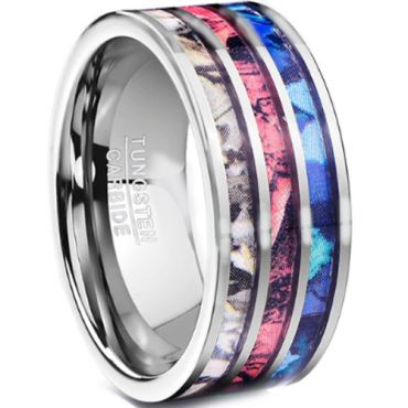 COI Tungsten Carbide Camo Pipe Cut Flat Ring - TG3623