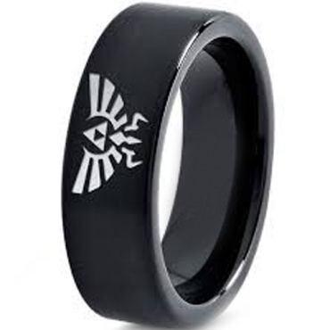 COI Black Tungsten Carbide Legend of Zelda Pipe Cut Ring-3633
