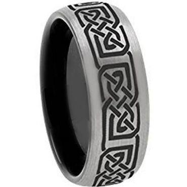 COI Titanium Black Silver Celtic Dome Court Ring - 3648