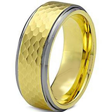 COI Titanium Gold Tone Silver Hammered Step Edges Ring-JT3656