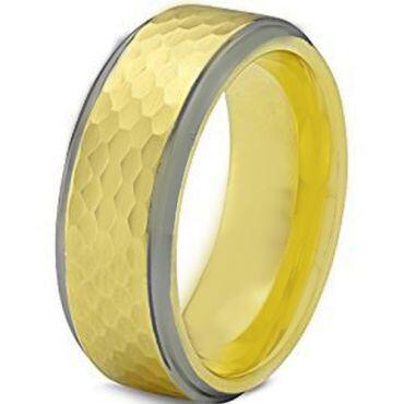 COI Titanium Gold Tone Silver Hammered Step Edges Ring-JT3656