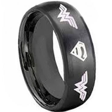 COI Black Tungsten Carbide SuperMan & Wonder Woman Ring-TG3682