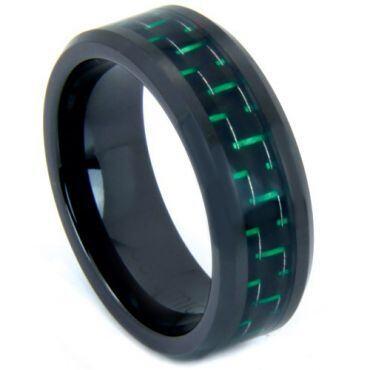 COI Black Titanium Carbon Fiber Beveled Edges Ring - 824