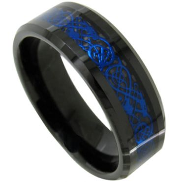 COI Titanium Black Blue Dragon Beveled Edges Ring-JT3707