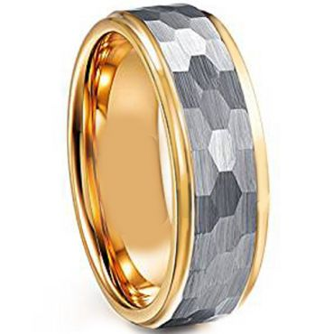COI Tungsten Carbide Gold Tone Silver Hammered Ring - TG3708AA