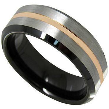 *COI Titanium Black Rose Beveled Edges Ring - JT3717