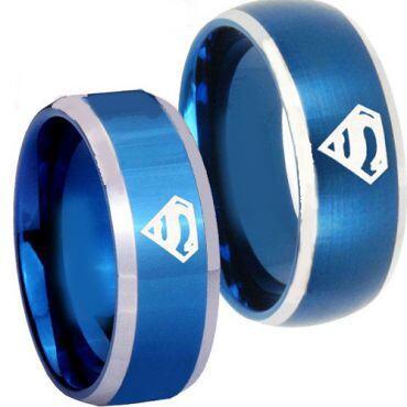 *COI Titanium Blue Silver Superman Beveled Edges Ring - JT3722