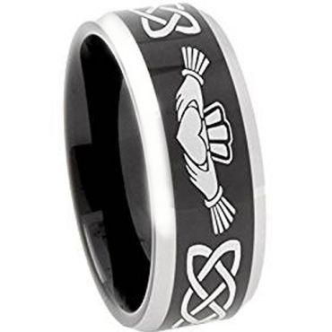 COI Tungsten Carbide Black Silver Mo Anam Cara Celtic Ring-374