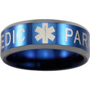 COI Tungsten Carbide Blue Silver Medic Alert Ring - TG4550
