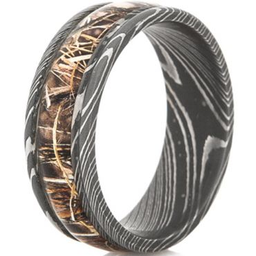 COI Black Titanium Camo Damascus Beveled Edges Ring-JT3782