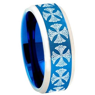 COI Tungsten Carbide Blue Silver Cross Ring - TG3783AA