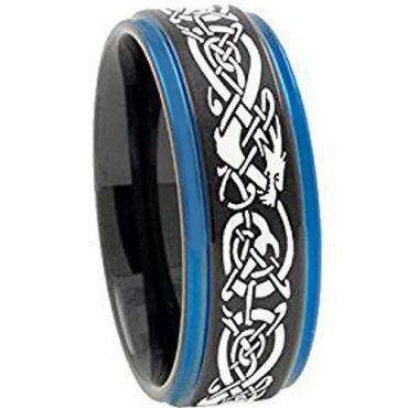 COI Tungsten Carbide Balck Blue Dragon Step Edges Ring-TG3797