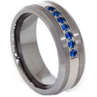 *COI Titanium Beveled Edges Ring With Created Sapphire-JT4111