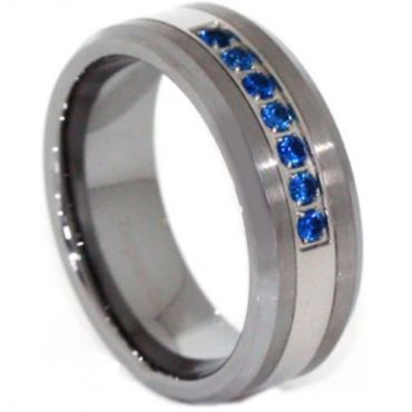 COI Tungsten Carbide Ring With Created Blue Sapphire - TG3813