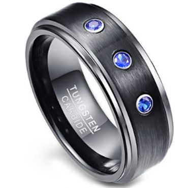 COI Black Tungsten Carbide Ring With Created Blue Sapphire-TG3851