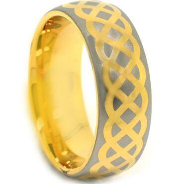 COI Gold Tone Tungsten Carbide Celtic Dome Court Ring-3876