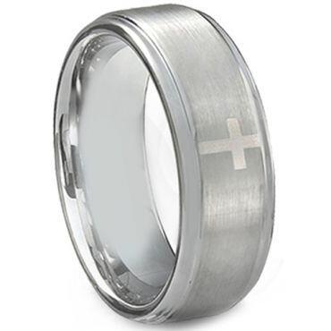 **COI Tungsten Carbide Cross Step Edges Ring - TG3895AA
