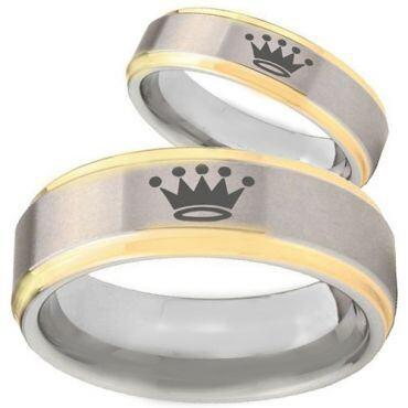 *COI Titanium Gold Tone Silver King Crown Step Edges Ring-3920