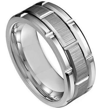 **COI Tungsten Carbide Tire Tread Brick Pattern Ring - TG3935