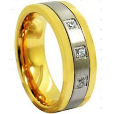 COI Titanium Gold Tone Silver Ring With Cubic Zirconia - 3943