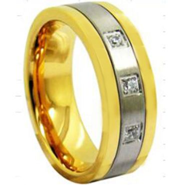 COI Tungsten Carbide Gold Tone Silver Cubic Zirconia Ring-TG3943