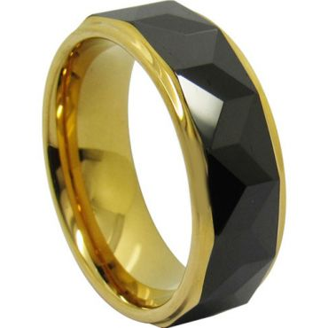 COI Titanium Black Gold Tone Faceted Step Edges Ring-JT3984