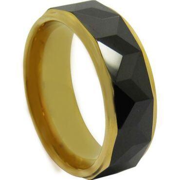 COI Titanium Black Gold Tone Faceted Step Edges Ring-JT3984