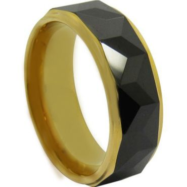 COI Tungsten Carbide Black Gold Tone Faceted Ring - TG4707