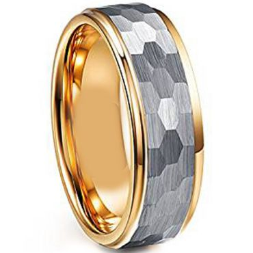 COI Titanium Gold Tone Silver Hammered Step Edges Ring - JT4001
