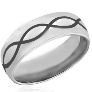 COI Tungsten Carbide Infinity Dome Court Ring - TG4036BB
