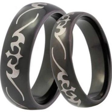 COI Black Tungsten Carbide Celtic Dome Court Ring-4041