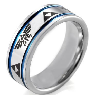 COI Tungsten Carbide Blue Silver Legend of Zelda Ring - TG4043A