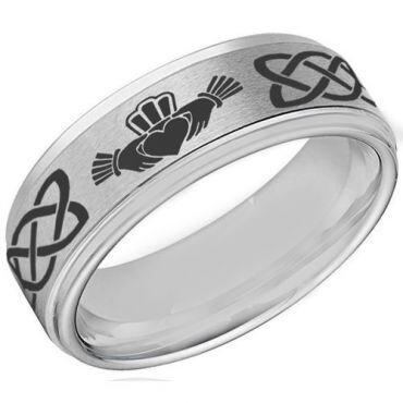 **COI Tungsten Carbide Mo Anam Cara Celtic Ring-4055