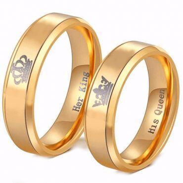*COI Gold Tone Tungsten Carbide King Queen Crown Ring-TG4056