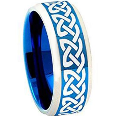 COI Tungsten Carbide Blue Silver Celtic Ring - TG4059BB