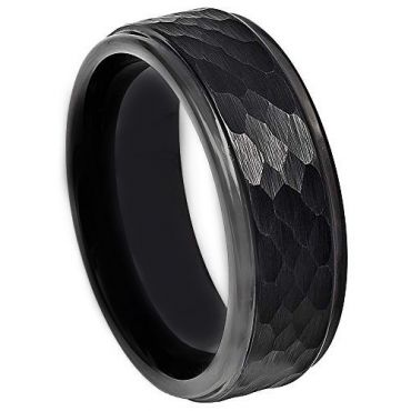 COI Black Tungsten Carbide Hammered Step Edges Ring-TG4730