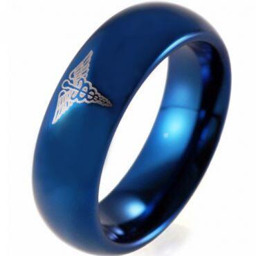 COI Blue Tungsten Carbide Medic Alert Ring - TG4073BB
