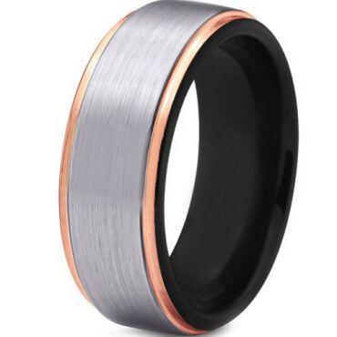 *COI Titanium Black Rose Step Edges Ring - JT3865