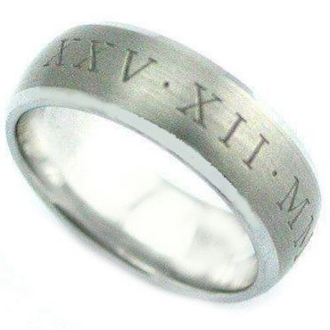 COI Tungsten Carbide Custom Roman Numerals Ring-TG4076C